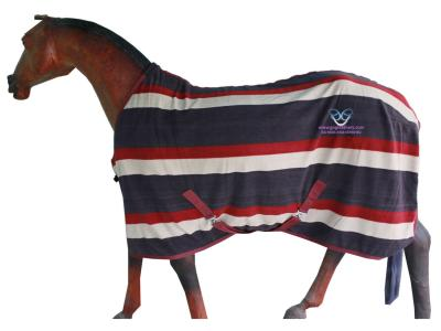 Horse Fleece Rug in Beautiful  Brown Beige Maroon Strip.