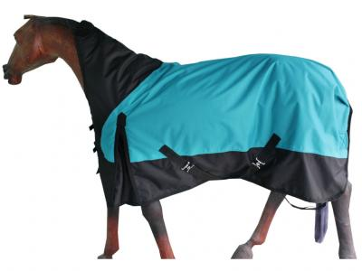 Turnout Hi Neck Rug in Firozi/Black with Black Binding