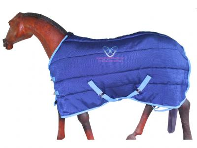 GNG-R3309 – Horse Stable Rug in R.blue with Baby Blue Binding