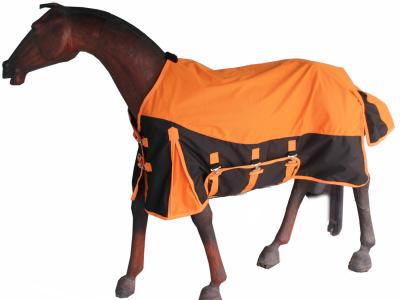 Horse Rain Rug Designer Black Orange