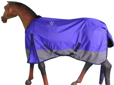 GNG-R2031 – Horse Rain Rug in Purple /Grey with Navy Binding