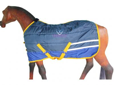 Horse Stable Rug in Navy and R.Blue with Reflector Strip