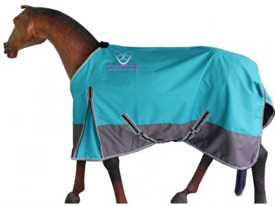 Horse Rain Rug in Turquoise and Grey Colour