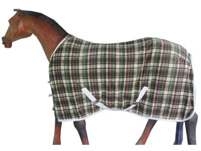 Horse Fleece Rug in Beautiful Brown,cream Green Check