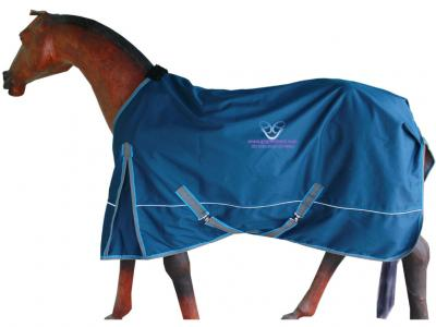 Horse Rain Rug in Cobat Blue with Grey and Blue Binding