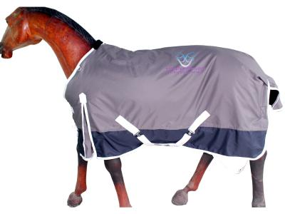 GNG-R1024 – Turnout Rug in Cofee bean Grey with White Binding