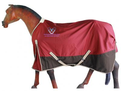 Horse Rain Rug in Maroon/Brown with Brn/Crm/Beige Binding