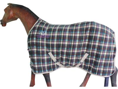 Horse Fleece Rug in Beautiful Purple,Dark Green Check