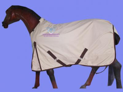 GNG-R2026 – Horse Rain Rug in Beige with Brown Binding