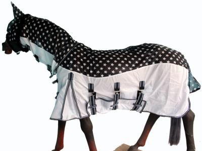 GNG-C4733 – Light Weight Mesh Combo In Two Tone  Navy With White Star Print & White Bottom With Navy White Star Print  Fly Mask
