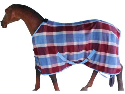 Horse Woolen Rug in Maroon Checks