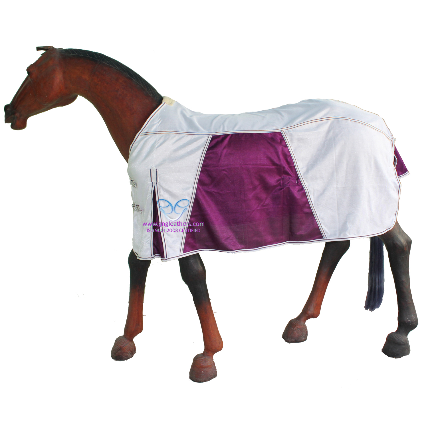 GNG-R4601 – Horse Fly Rug in Off White & Purple