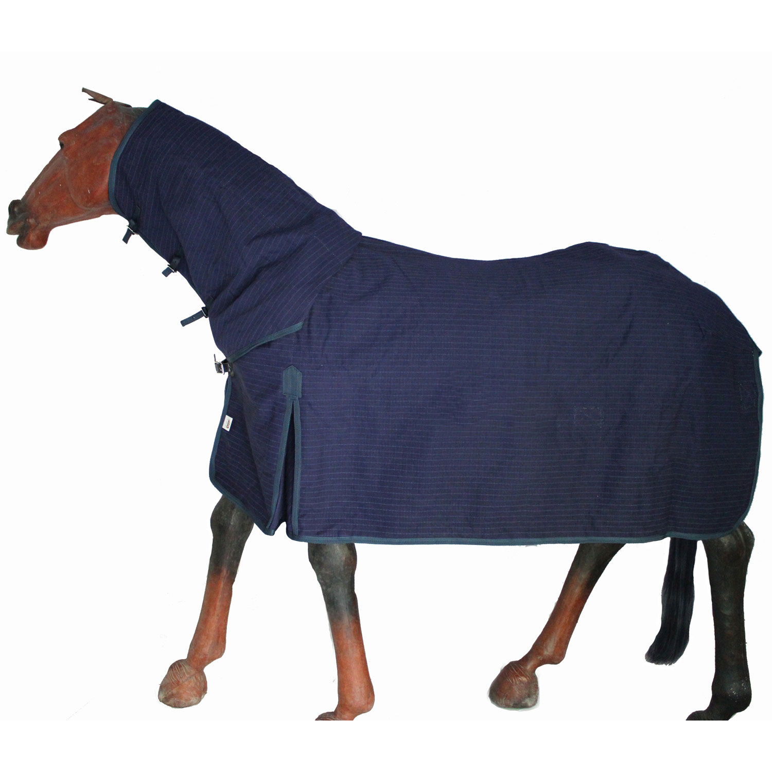 GNG-C5001 – Horse Canvas Lined Combo Rug in Navy Blue Checks